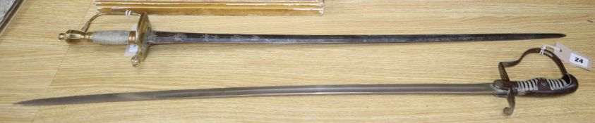 A 1796 pattern infantry officer's sword and an Imperial German officer's sword