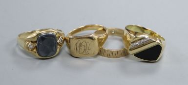 Two 9ct gold rings including a signet ring and two other 9ct rings.