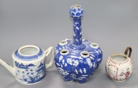 Two Chinese tea pots and a crocus vase