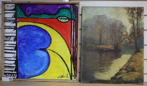 Gottschalk, oil on card, Untitled, signed and dated '96, 51 x 50cm and an oil on canvas, river