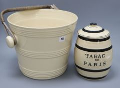A French ironstone banded bucket, c.1920 and a similar tobacco jar