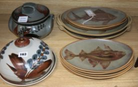 A ten-piece set of Jersey Pottery tableware and two Jersey Pottery dishes and covers