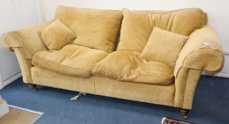 A large gold chenille sofa by Duresta W.220cm