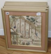 19th century Chinese School, set of eight woodblock prints, Figures producing porcelain and other
