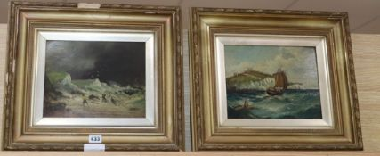 Late 19th century English School, pair of oils on board, Shipping off Dover and Shipwreck scene,