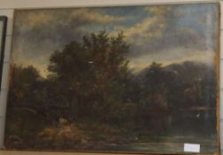 19th century English School, oil on canvas, Cattle on a path, indistinctly signed, 51 x 76cm