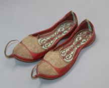 A 20th century Ottoman shoes with metal thread