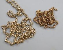 A 9ct circular link necklace and one other necklace(a.f.).