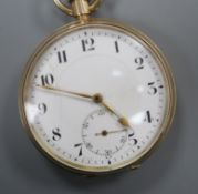 A 9ct gold open face pocket watch with Arabic numerals and subsidiary seconds.