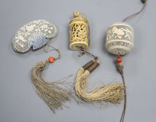 Two 19th century Chinese ivory pomanders and a similar purse