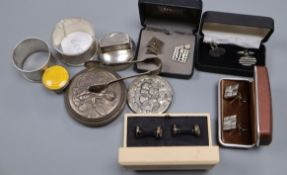 Small silver items including napkin rings, cufflinks, lids etc.