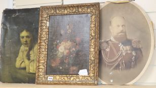 I* F* I* (19th century), oileograph, Floral spray, signed and monogram, 38 x 28cm, After Greuze,