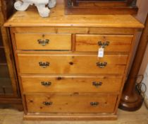 A Victorian style pine chest of drawers W.92cm