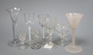 Four 19th century air and cotton twist cordial glasses and four others tallest 17cm