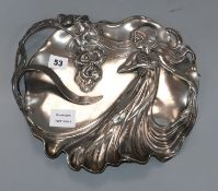 A WMF Art Nouveau pewter tray, no. 290, decorated with a maiden length 33cm