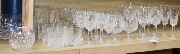 A 36 piece suite of Waterford Lismore drinking glasses, a cut glass bowl, jug and jar