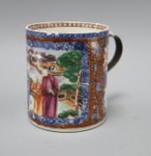 A Chinese export figural mug, metal handle height 13.5cm