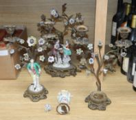 Two Continental figural two branch candelabra and matching centrepiece