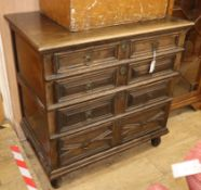 A 17th century style oak chest of drawers W.92cm