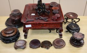 A group of Chinese and Japanese wood stands