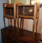 Two 19th century French fruitwood bedside tables larger 74cm high