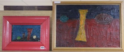 Modern British, pair of oils on board, Still lifes, one initialled SM, largest 36 x 52cm