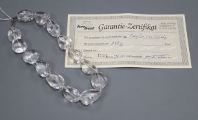 A large assorted shaped facetted rock crystal necklace, with 925 clasp, 44cm.