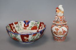 A Japanese Imari vase and cover and a bowl
