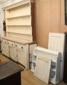 A Victorian pine dresser and rack, and an additional plate rack W.210cm