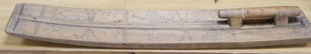 An 18th century Swedish sycamore mangle board