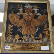 A German heraldic reverse painted glass panel, dated 1813 excl. frame 41 x 31cm (a.f.)