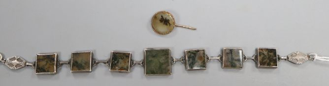 A sterling white metal and moss agate panel bracelet and a moss agate stick pin.