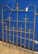 A wrought iron garden gate W.80cm