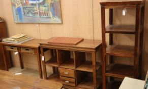A hardwood office storage cabinet, fitted two drawers and open shelves, a narrow four tier unit