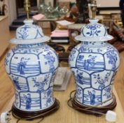 A pair of modern Chinese Kangxi style blue and white lamps height 56cm