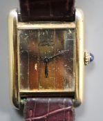 A Must de Cartier vintage ladys' gilt 925 wristwatch, No. 231651, having three-colour metallic