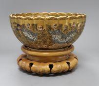 A Japanese Satsuma petal lobed bowl diameter 24cm
