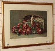 Louie Arun (?), watercolour, still life of roses in a basket, indistinctly signed and dated 1921, 44