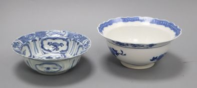 A Chinese blue and white kraak bowl, c.1640 and a 19th century Chinese blue and white bowl largest