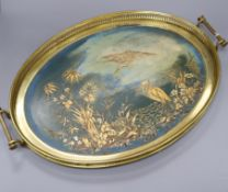 An English brass and chinoiserie tray, by H F & Co length 58cm