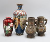 Two Japanese cloisonne enamel vases and a pair of Japanese bronze and champleve enamel vases (4)
