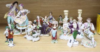 A collection of 20th century porcelain figures tallest 21cm