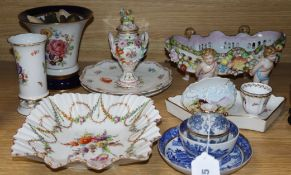 A Meissen vase and other Continental ceramics