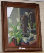 G.D. Watton, oil on canvas, Still life of an African mask and white tulips, signed, 52 x 42cm
