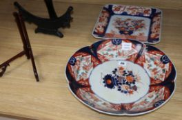 Two large Japanese Imari dishes and two stands largest diameter 40cm