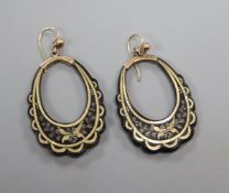 A pair of Victorian tortoiseshell and yellow metal pique loop earrings, 39mm.