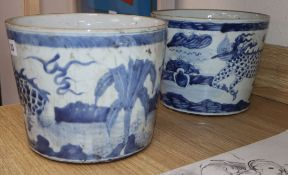 A pair of Chinese blue and white 'qilin' ice pails height 20cm