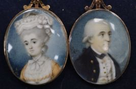 English School c.1780, pair of oil on ivory miniatures of a lady and gentleman, 4 x 3.25cm, near