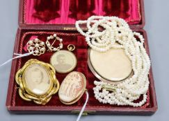 Two 9ct gold and pearl openwork brooches, a 9ct gold-mounted cameo brooch and four other items, an