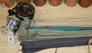 Two sea reels, a Constable of Bromley fly rod, a B James & Sons fly rod and two other rods (some